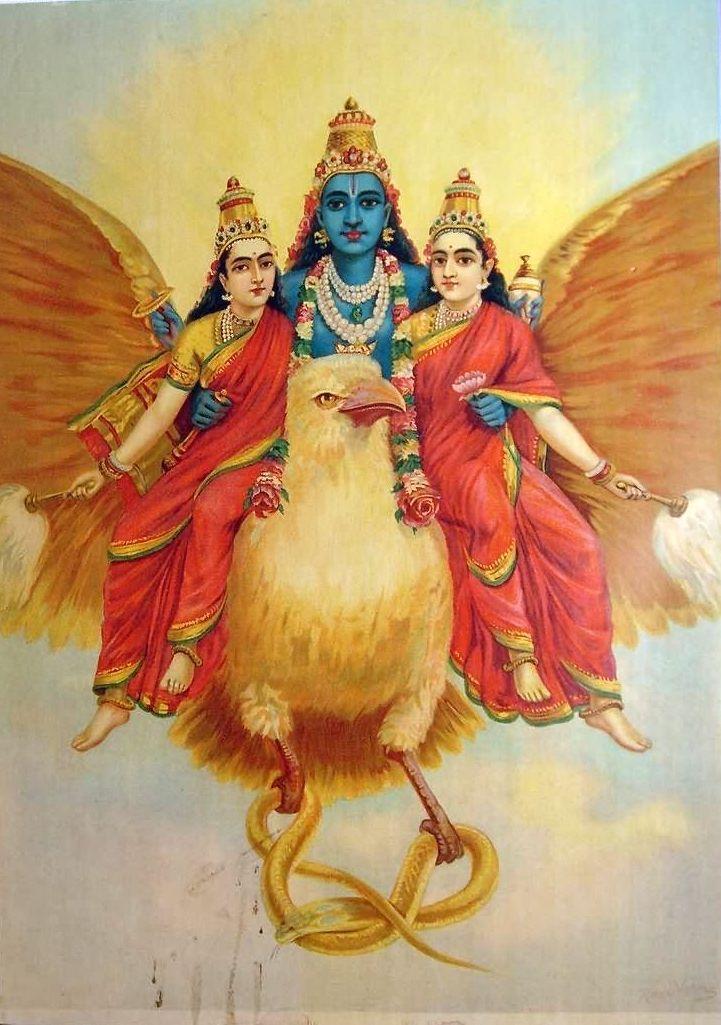 Vishnu riding Garuda, depicted as a complete bird in this painting by Raja Ravi Varma.  ~  Lord Vishnu with his two wives, Lakshmi and Maya, on Garuda, the vehicle of Lord Vishnu
