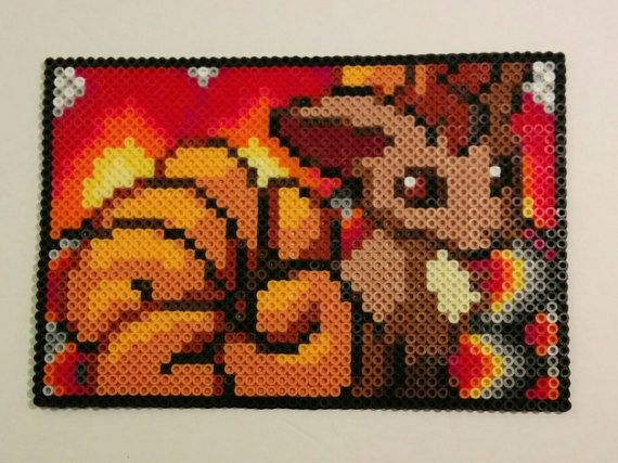 This is a portrait made using a sprite from the Pokemon Pinball games, made for the Gameboy! The background of the piece is custom and unique! With this portrait, I attempted to present Vulpix sitting in front of a fire with cooling coals.