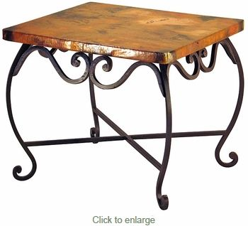 Wrought iron table with copper top - 24 x 28 x 23.  $1229.00 with shipping.