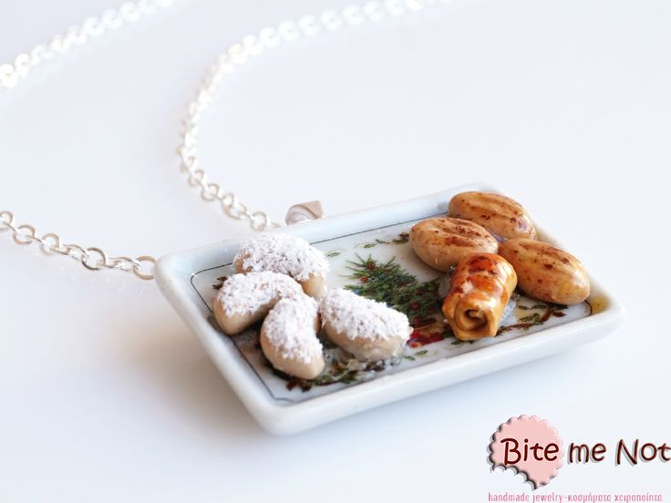 ''Christmas greek traditional sweets'' -Silver plated long chain necklace!  -Ceramic tray with christmas tree pattern! On the tray are served different kinds of greek traditional sweets!