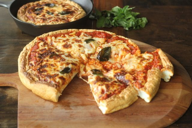 Deep Dish Pizza - low carb - trace carbs per slice - The whole pizza is only 7 carbs!!!