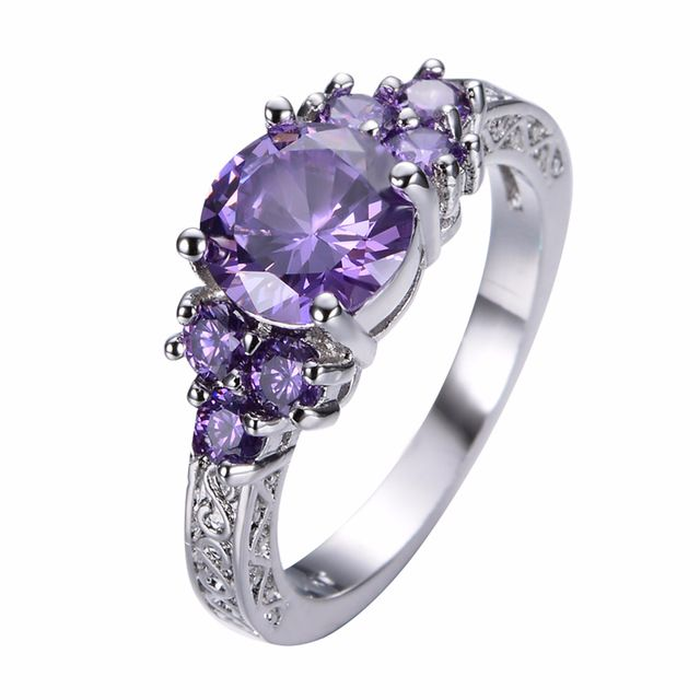 Women Amethyst Ring White Gold Filled Jewelry Vintage Wedding Rings 29