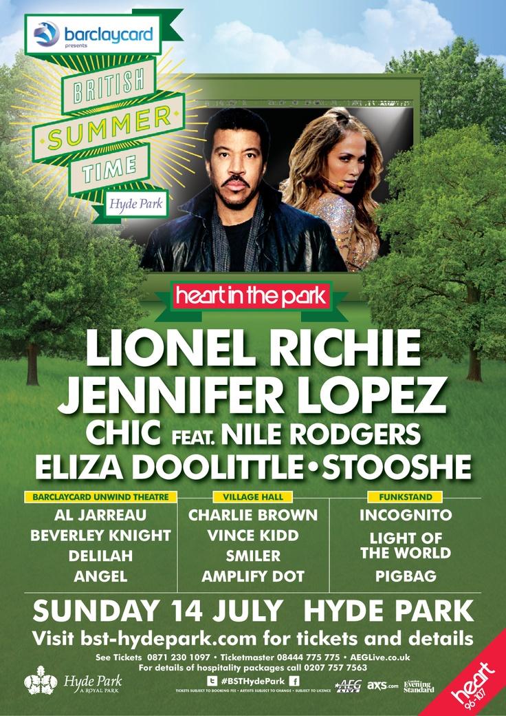Lionel Richie And Jennifer Lopez Will Close Barclaycard Presents British Summer Time Hyde Park On July 14 Ticket British Summer Festival London Lionel Richie