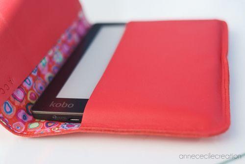 porte-liseuse/protection liseuse en cuir tablette smartphone liseuse e-reader rouge