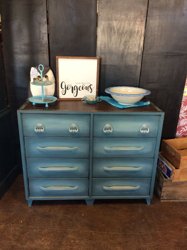 Beautiful 8 drawer wood dresser painted with Country Chic Paints. Love the blended blues. #tracystreasures02 #countrychicpaint