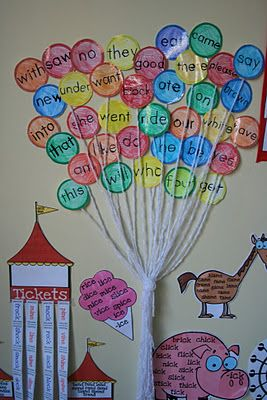 Cute way to display sight words. Except I would put a house at the bottom so it would be like Up!