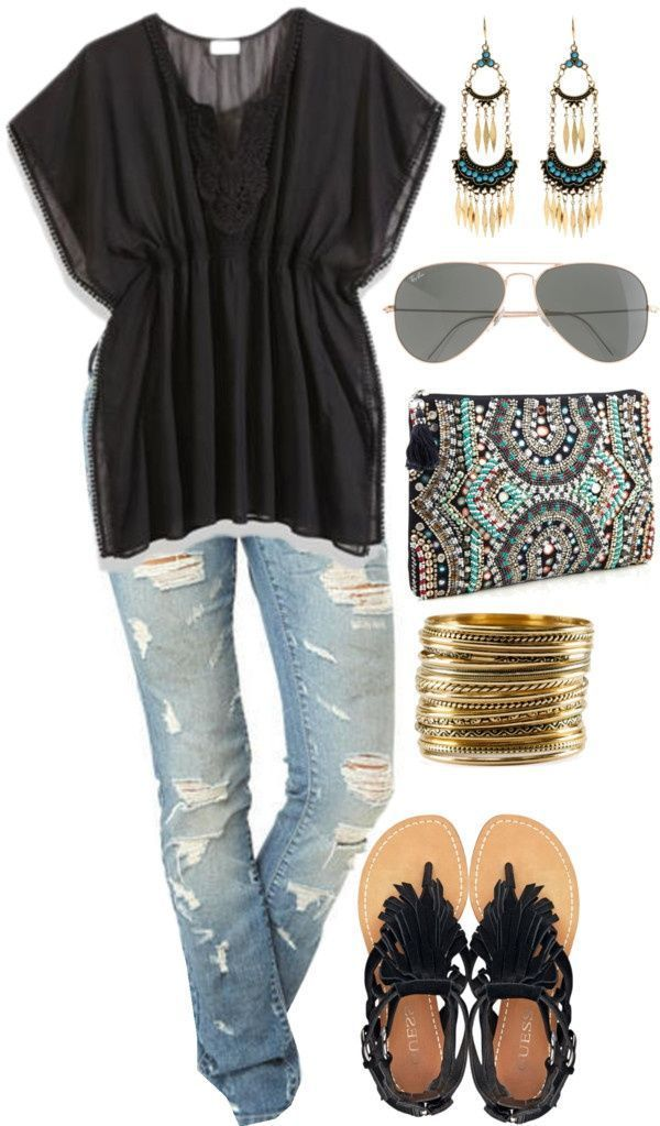 cute but without the ripped up jeans. Id wear skinny jeans or regular capri jeans