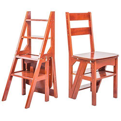 YIZI HAIPENG Wooden Foldable Backrest Chair 4 Steps Ladder