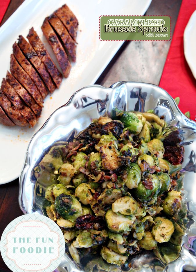 Caramelized Brussels Sprouts with Bacon for a Christmas Dinner Potluck {Adapted from @Abu mnsar Saad & Wine on The Perch, a Polka Dot Peacock blog} /ES