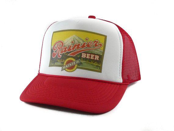 Rainier Beer hat Trucker Hat Mesh Hat Snap Back Hat red new
