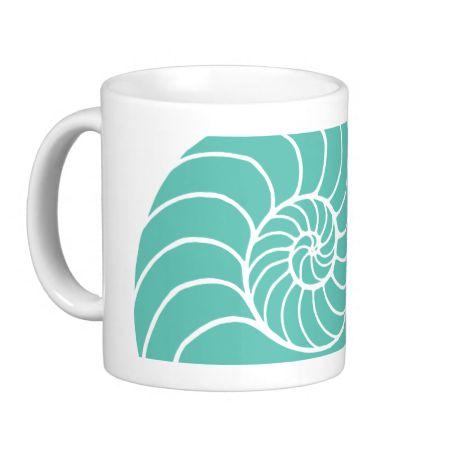 Teal Nautilus Sea Shell Coffee Mugs