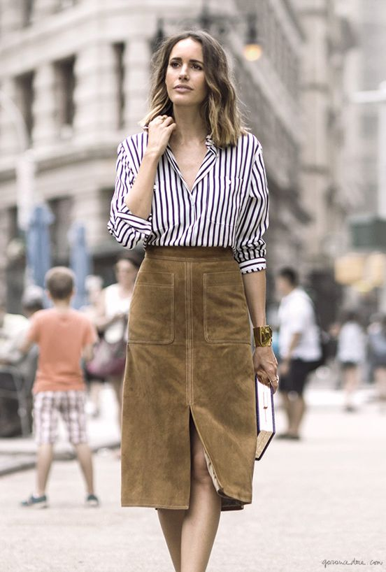 Walk The Line, Louise Roe, Striped Shirt, Pinned Shirt, Suede Skirt, Classic Skirt, Style / Garance Doré