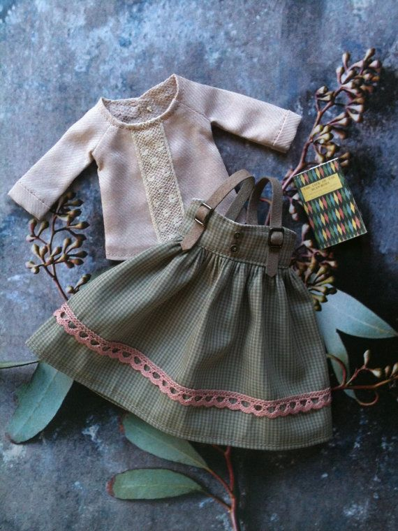 :: Crafty :: Doll :: Clothes :: Bookish Girl Pinafore Set for Blythe by moshimoshistudio