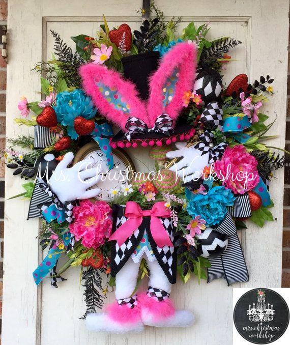 Easter wreath mad hatter wreath mad hatter rabbit Easter Grapevine Easter bunny…