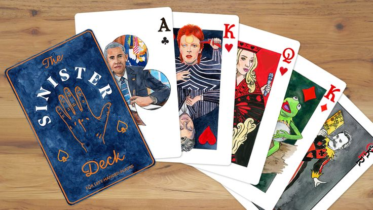 The Sinister Deck is a left-handed card deck that features famous left-handed people on the face cards.