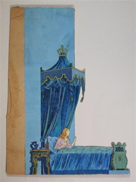 """Bühnenbild für den 2. Akt, II. Abteilung """"Prisessans sovrum"""" zu """"Der var engang"""""""
