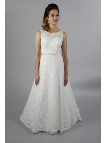kjæreste fulle blonder En linje brudekjole med krystall ramme