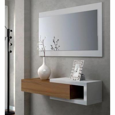 Console d'entrée avec miroir - Coloris : blanc et noyer