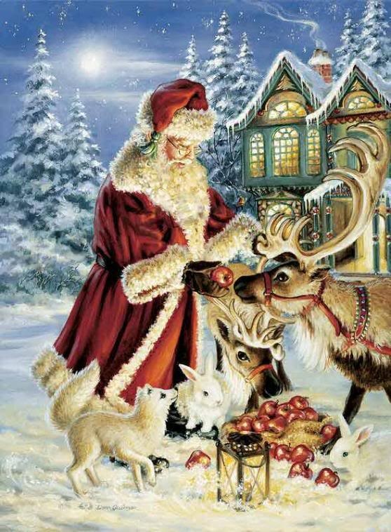 Santa and the animals scene for Christmas.