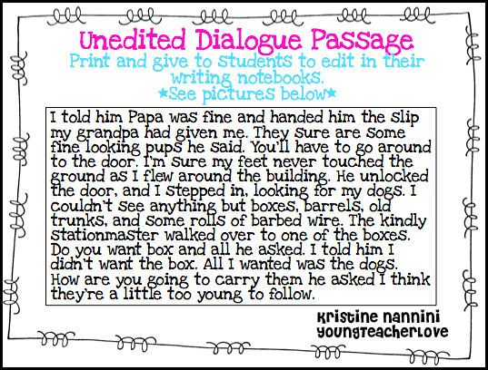 Writing Dialogue Freebie! Students edit and punctuate a passage for dialogue! - Young Teacher Love Blog