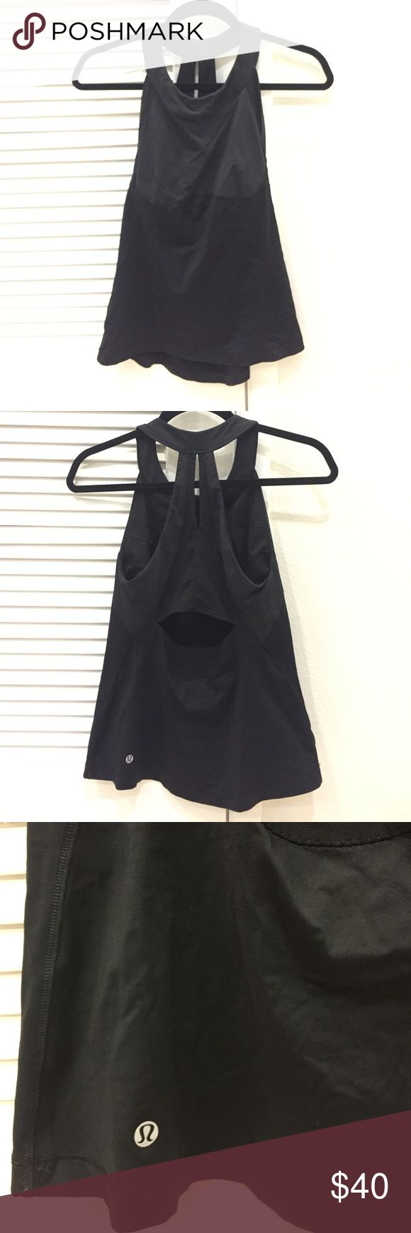 Black Lulu Lemon built-in bra running top Black Lulu Lemon women's running top; built in bra; decent support for a-b cup; medium support for c+ cup; worn twice lululemon athletica Tops Tank Tops