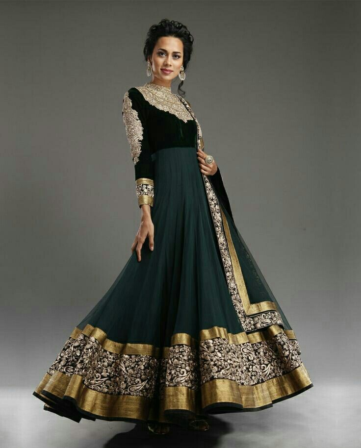 Dark Green Anarkali.