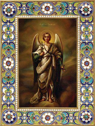 оклад иконы в эмали Ангел Хранитель, филигрань, серебро, позолота