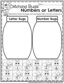 Spring Preschool Worksheets - Letter or Number Sort