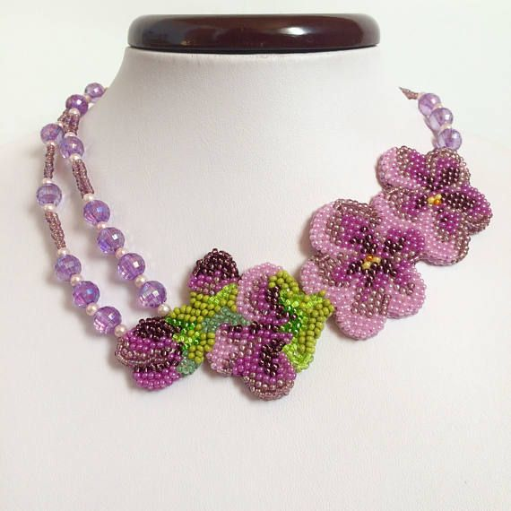Lilac necklace handmade beaded necklace Embroidery flowers Embroidered Necklace with flowers Jewelry with flower beadwork Crystal Necklaces