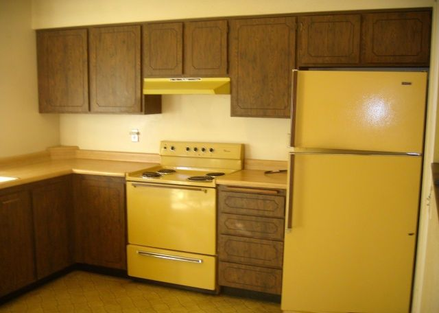 Vintage original 1976 harvest gold appliances refrigerator for Retro kitchen ideas 1970