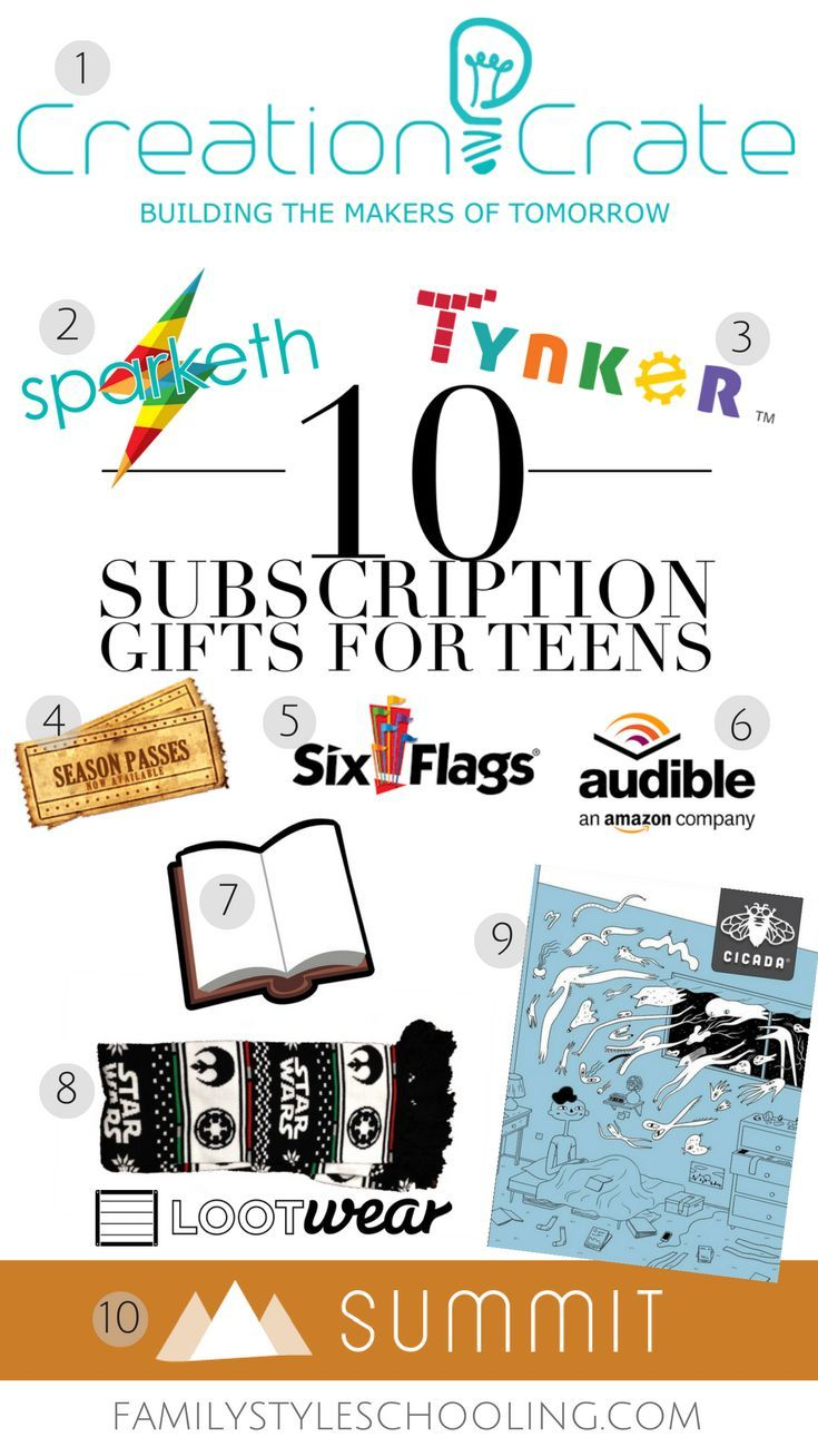 10 Subscription Gifts for Teens http://familystyleschooling.com/2016/11/20/10-subscription-gifts-teens/