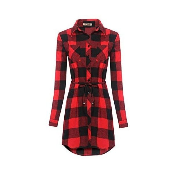 Hotouch Women's Flannel Plaid Shirts Tops Casual Belted Shirt Dresses ❤ liked on Polyvore featuring dresses, plaid dresses, red dress, long flannel shirt dress, tartan plaid dress and long shirt dress