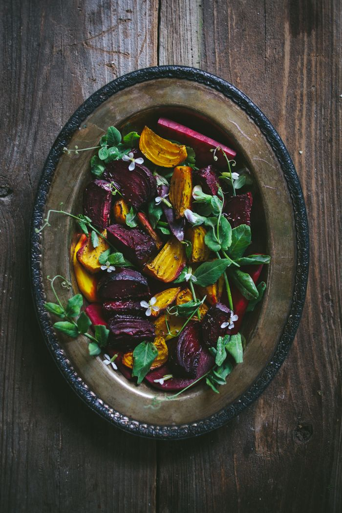 Roasted Beet Salad with Pea Shoots & Chèvre / by Adventures in Cooking