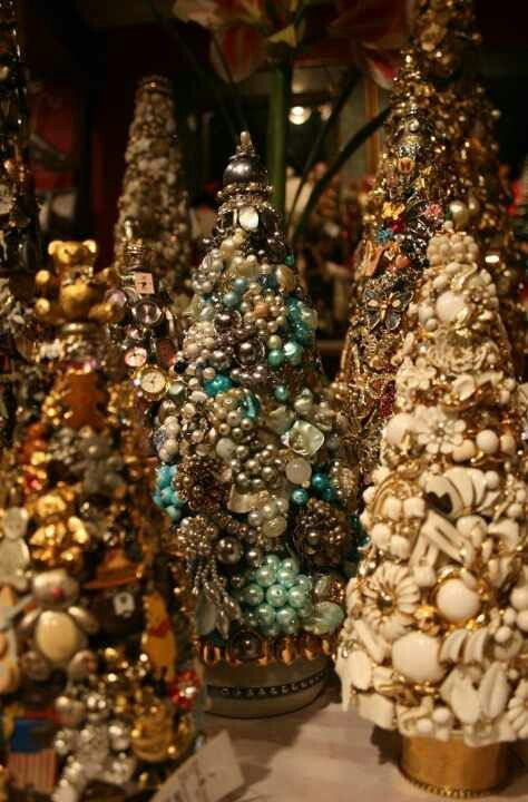 Vintage Costume Jewelry Trees. I don,t know how a homemade one would turn out, but I have an urge to start collecting old beads, ect.