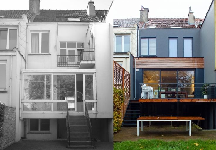 Deze rijwoning uit de jaren '20 kreeg, met de bouw van een aanbouw op het gelijkvloers en de verdieping, een veel moderner uitzicht. De leefruimte op het gelijkvloers, werd opengewerkt naar de tuin toe. Vermits het een bel-étage woning betrof, werd een terras voorzien op niveau van het gelijkvloers. Om zoveel mogelijk licht binnen te trekken, werden grote glaspartijen geplaatst in de leefruimte. Het betreft hier ook een totale, interne verbouwing: gelijkvloers, verdieping en zolder werden…