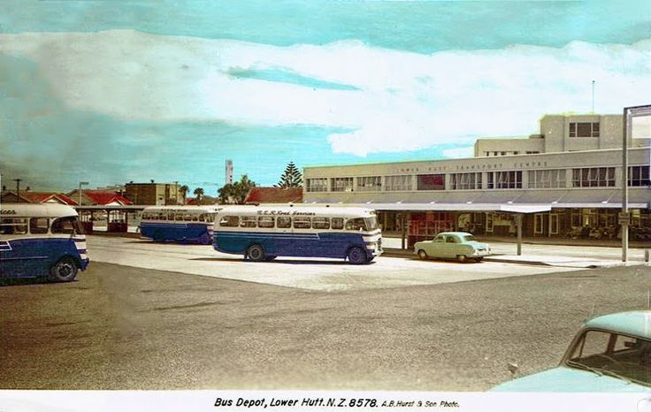 transpress nz: NZR Road Services Bedford buses in Lower Hutt, 1950s
