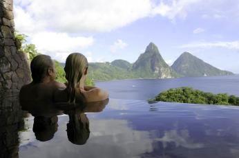 Udsigten er fantastisk på Jade Mountain, St. Lucia