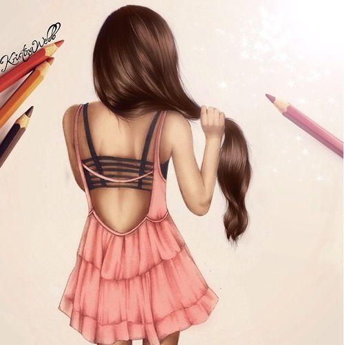 Mädchen mit langen Haaren von hinten gezeichnet