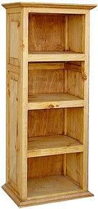 """At 20""""wide this is our narrowest rustic Mexican rustic pine bookshelf. At a height of 49"""", this can double as a tall table. Put a lamp on top and fill the shelves with your favorite books.... More Details"""