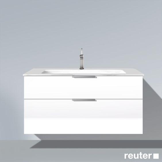 Burg Eqio Waschtischunterschrank mit 2 Auszügen und Mineralguss-Waschtisch Front weiß hochglanz/Korpus weiß glänzend/WT weiß - SEYU122F2009001 | Reuter Onlineshop