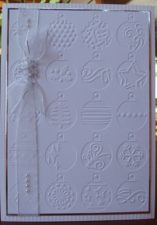 Cuttlebug:  EXCLUSIVE 6 pack set HSN Design, http://crafts-sewing.hsn.com/cuttlebug-6-pack-holiday-emboss-folders_p-5792235_xp.aspx?webm_id=5792235_id=5792235=sekw|best_sellers_re=merchzone_carousel*page1_spot1_image*merchzones  EK Success Snowflake Punch (holly/snowflake set)  3mm pearls