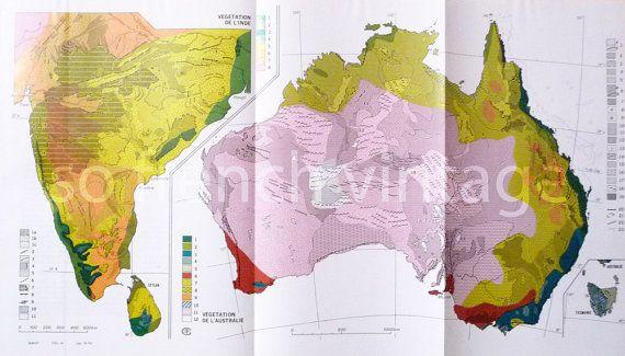 1970 Carte Physique Végétation Australie Inde Géomorphologie Botanique Grand Format