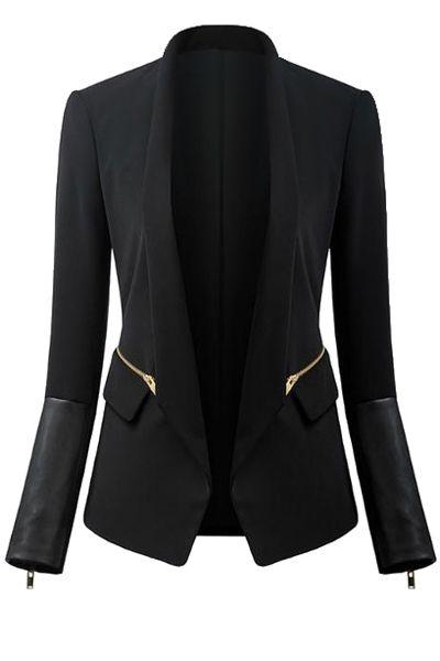 Black Turn-Down Collar Zipper Blazer