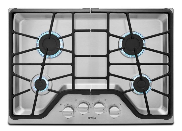 30-inch Four Burner Gas Cooktop with Power Burner in Stainless Steel #Cooktops