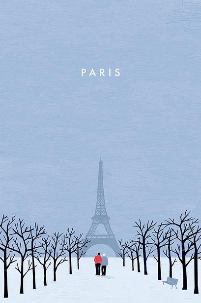 Paris Travel Poster by Katinka Reinke
