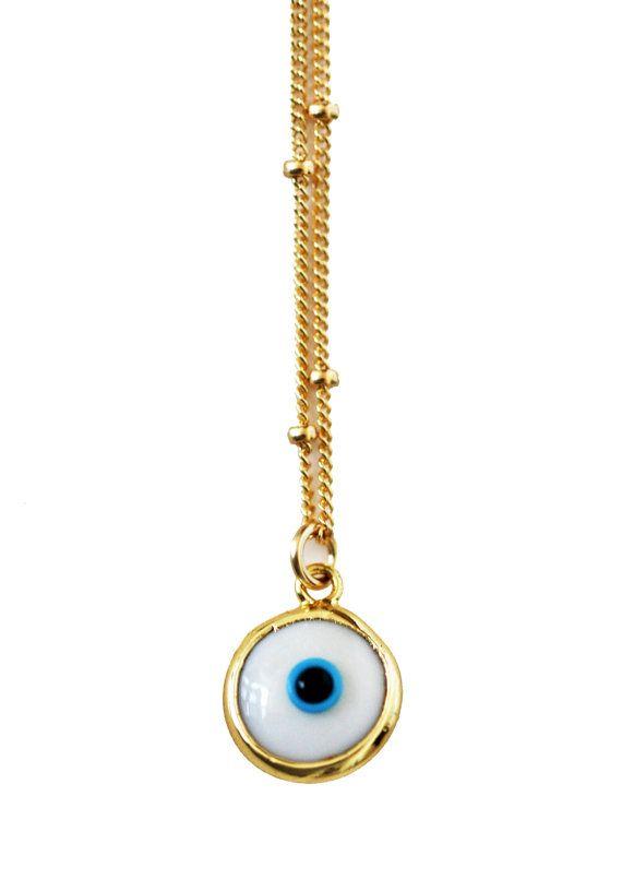 collier blanc mauvais œil par keijewelry sur Etsy