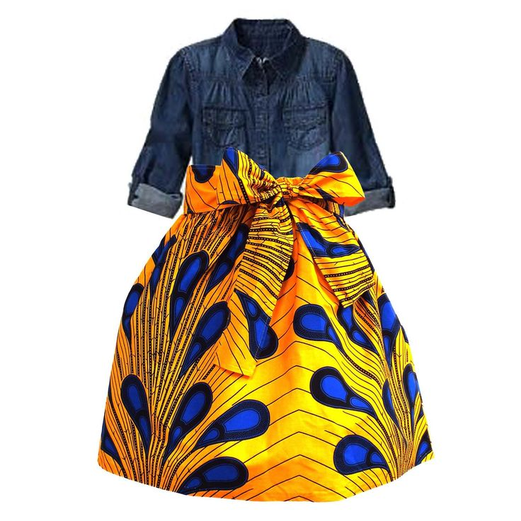 Abina African Print Full Skirt for Little Girls (Peacock Feather Yellow/Blue)