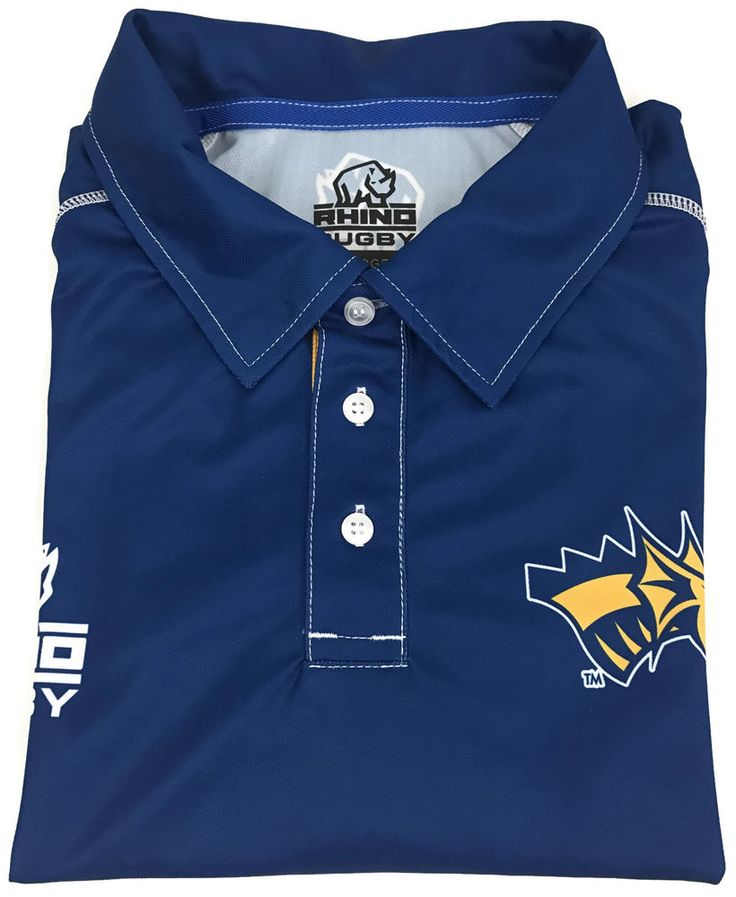 Rhino Rugby USA 7 Sevens Polo Golf Shirt Size Large Mens Short Sleeve Blue Sz L #RinoRugby #ShirtsTops
