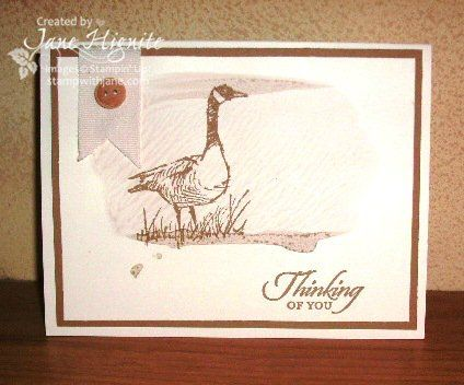Stampin' Up! Wetlands stamp set, masculine cards, thinking of you cards, alcohol ink techniques, clear block techniques, reinker techniques, simple cards, monochromatic cards - www.stampwithjane.com