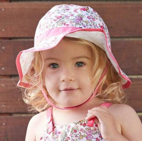 Pink Floral bucket hats for girls kids flower beach sun hat with string